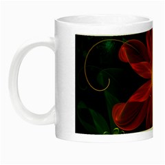 Beautiful Red Passion Flower In A Fractal Jungle Night Luminous Mugs by beautifulfractals