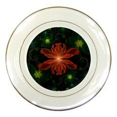 Beautiful Red Passion Flower In A Fractal Jungle Porcelain Plates by beautifulfractals