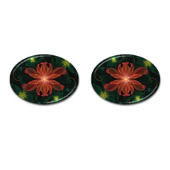 Beautiful Red Passion Flower In A Fractal Jungle Cufflinks (oval) by beautifulfractals