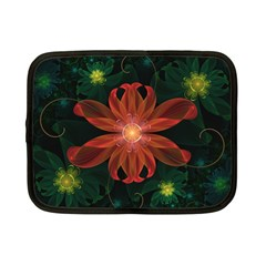 Beautiful Red Passion Flower In A Fractal Jungle Netbook Case (small)  by beautifulfractals