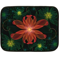 Beautiful Red Passion Flower In A Fractal Jungle Double Sided Fleece Blanket (mini)  by beautifulfractals