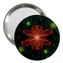 Beautiful Red Passion Flower In A Fractal Jungle 3  Handbag Mirrors by beautifulfractals