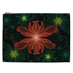 Beautiful Red Passion Flower In A Fractal Jungle Cosmetic Bag (xxl)  by beautifulfractals