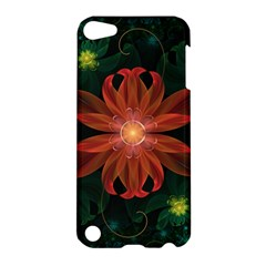 Beautiful Red Passion Flower In A Fractal Jungle Apple Ipod Touch 5 Hardshell Case by jayaprime