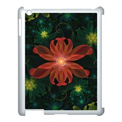Beautiful Red Passion Flower In A Fractal Jungle Apple Ipad 3/4 Case (white) by jayaprime