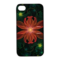 Beautiful Red Passion Flower In A Fractal Jungle Apple Iphone 4/4s Hardshell Case With Stand by beautifulfractals