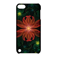 Beautiful Red Passion Flower In A Fractal Jungle Apple Ipod Touch 5 Hardshell Case With Stand by beautifulfractals
