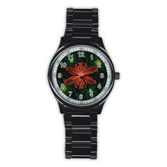 Beautiful Red Passion Flower In A Fractal Jungle Stainless Steel Round Watch by beautifulfractals