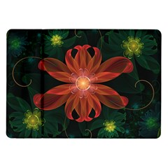 Beautiful Red Passion Flower In A Fractal Jungle Samsung Galaxy Tab 10 1  P7500 Flip Case by jayaprime