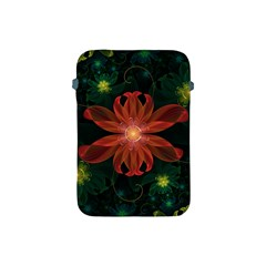 Beautiful Red Passion Flower In A Fractal Jungle Apple Ipad Mini Protective Soft Cases by jayaprime