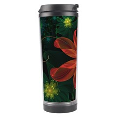 Beautiful Red Passion Flower In A Fractal Jungle Travel Tumbler by beautifulfractals