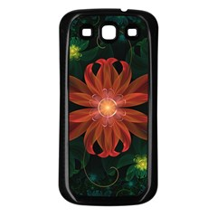 Beautiful Red Passion Flower In A Fractal Jungle Samsung Galaxy S3 Back Case (black) by jayaprime