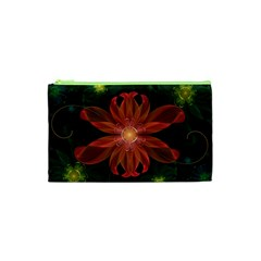 Beautiful Red Passion Flower In A Fractal Jungle Cosmetic Bag (xs) by beautifulfractals