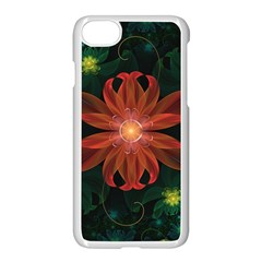 Beautiful Red Passion Flower In A Fractal Jungle Apple Iphone 7 Seamless Case (white) by beautifulfractals