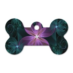 Pink And Turquoise Wedding Cremon Fractal Flowers Dog Tag Bone (one Side) by beautifulfractals