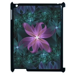 Pink And Turquoise Wedding Cremon Fractal Flowers Apple Ipad 2 Case (black) by beautifulfractals