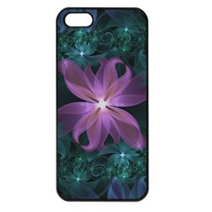 Pink And Turquoise Wedding Cremon Fractal Flowers Apple Iphone 5 Seamless Case (black) by beautifulfractals