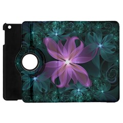 Pink And Turquoise Wedding Cremon Fractal Flowers Apple Ipad Mini Flip 360 Case by beautifulfractals
