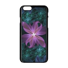 Pink And Turquoise Wedding Cremon Fractal Flowers Apple Iphone 6/6s Black Enamel Case by beautifulfractals