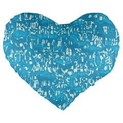Glossy Abstract Ocean Large 19  Premium Flano Heart Shape Cushions by MoreColorsinLife