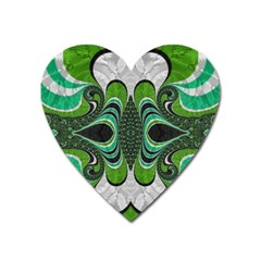Fractal Art Green Pattern Design Heart Magnet by BangZart