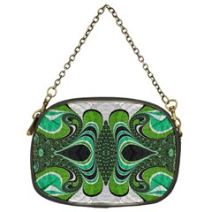 Fractal Art Green Pattern Design Chain Purses (one Side)  by BangZart