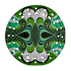 Fractal Art Green Pattern Design Round Filigree Ornament (two Sides) by BangZart