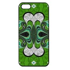Fractal Art Green Pattern Design Apple Iphone 5 Seamless Case (black) by BangZart