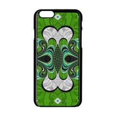 Fractal Art Green Pattern Design Apple Iphone 6/6s Black Enamel Case by BangZart