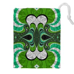 Fractal Art Green Pattern Design Drawstring Pouches (xxl) by BangZart