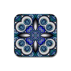Fractal Cathedral Pattern Mosaic Rubber Coaster (square)  by BangZart