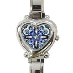 Fractal Cathedral Pattern Mosaic Heart Italian Charm Watch by BangZart