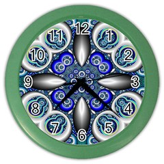 Fractal Cathedral Pattern Mosaic Color Wall Clocks by BangZart