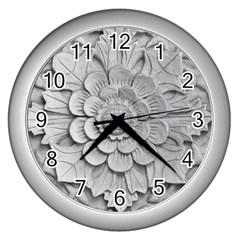 Pattern Motif Decor Wall Clocks (silver)  by BangZart