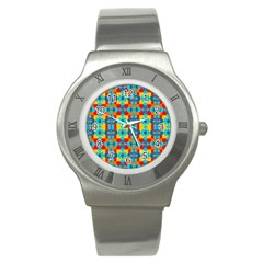 Pop Art Abstract Design Pattern Stainless Steel Watch by BangZart