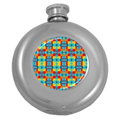 Pop Art Abstract Design Pattern Round Hip Flask (5 Oz) by BangZart