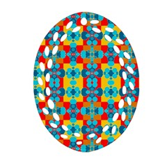 Pop Art Abstract Design Pattern Oval Filigree Ornament (two Sides) by BangZart