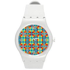 Pop Art Abstract Design Pattern Round Plastic Sport Watch (m) by BangZart
