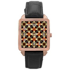 Kaleidoscope Image Background Rose Gold Leather Watch  by BangZart