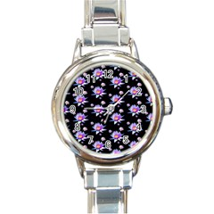 Flowers Pattern Background Lilac Round Italian Charm Watch by BangZart