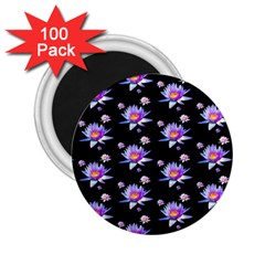 Flowers Pattern Background Lilac 2 25  Magnets (100 Pack)  by BangZart