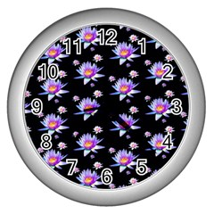 Flowers Pattern Background Lilac Wall Clocks (silver)  by BangZart