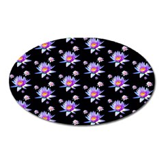 Flowers Pattern Background Lilac Oval Magnet by BangZart