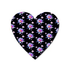 Flowers Pattern Background Lilac Heart Magnet by BangZart