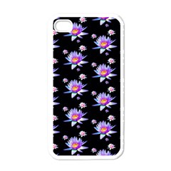 Flowers Pattern Background Lilac Apple Iphone 4 Case (white) by BangZart
