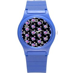Flowers Pattern Background Lilac Round Plastic Sport Watch (s) by BangZart