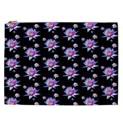 Flowers Pattern Background Lilac Cosmetic Bag (xxl)  by BangZart