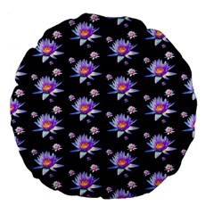 Flowers Pattern Background Lilac Large 18  Premium Flano Round Cushions by BangZart