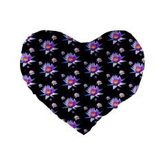 Flowers Pattern Background Lilac Standard 16  Premium Flano Heart Shape Cushions by BangZart