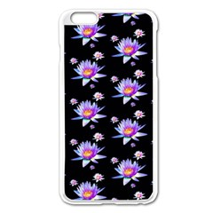 Flowers Pattern Background Lilac Apple Iphone 6 Plus/6s Plus Enamel White Case by BangZart